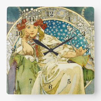 Alphonse Mucha Princess Hyacinth Art Nouveau Clocks