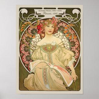 Alphonse Mucha Rêverie Daydream CC0105 Art Nouveau Poster
