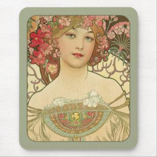 Alphonse Mucha Rêverie Daydream CC0155 Art Nouveau Mouse Pad