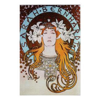 Alphonse Mucha Sarah Bernhardt Vintage Art Nouveau Perfect Poster