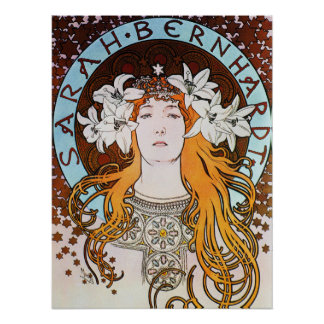 Alphonse Mucha Sarah Bernhardt Vintage Art Nouveau Poster