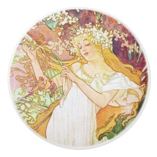 Alphonse Mucha Spring Floral Vintage Art Nouveau Ceramic Knob