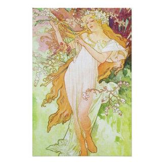 Alphonse Mucha Spring Floral Vintage Art Nouveau Perfect Poster