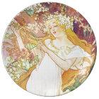 Alphonse Mucha Spring Floral Vintage Art Nouveau Plate