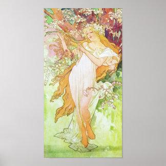 Alphonse Mucha Spring Floral Vintage Art Nouveau Poster