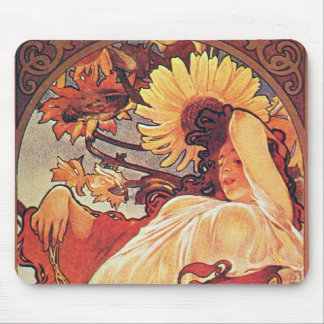 Alphonse Mucha Sunflower Mouse Pad