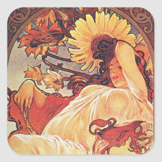 Alphonse Mucha Sunflower Square Sticker