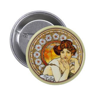 Alphonse Mucha - Topaz Pinback Button