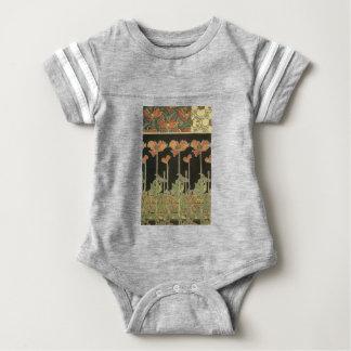 Alphonse Mucha Vintage Popular Art Nouveau Poppies Baby Bodysuit