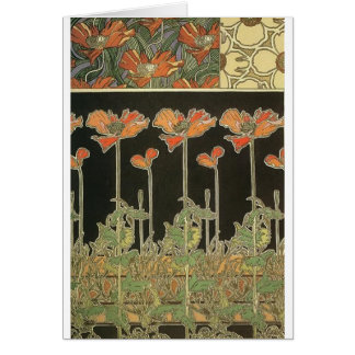 Alphonse Mucha Vintage Popular Art Nouveau Poppies Card