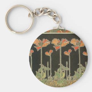 Alphonse Mucha Vintage Popular Art Nouveau Poppies Keychain
