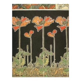 Alphonse Mucha Vintage Popular Art Nouveau Poppies Letterhead