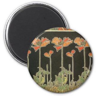 Alphonse Mucha Vintage Popular Art Nouveau Poppies Magnet