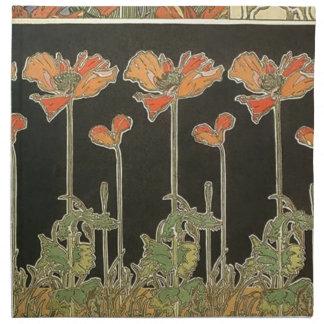 Alphonse Mucha Vintage Popular Art Nouveau Poppies Napkin