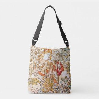 Alphonse Mucha Woman with a Daisy Art Nouveau Crossbody Bag