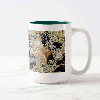 "Alphonse Mucha, ""Woman with a Daisy"" Two-Tone Coffee Mug"