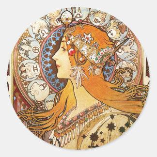 Alphonse Mucha Zodiac Classic Round Sticker