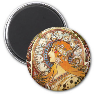 Alphonse Mucha Zodiac Magnet