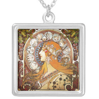 Alphonse Mucha Zodiac Silver Plated Necklace