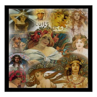 Alphonse Mucha's Faces Collage Vintage Poster