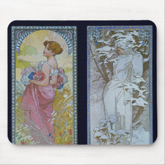 "Alphonse Mucha's ""Summer and Winter"" Mouse Pad"