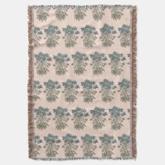 Alpine Bell Flower Botanical Illustration Throw Blanket
