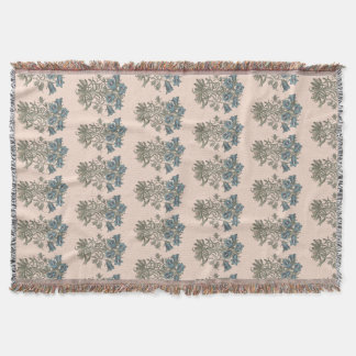 Alpine Bell Flower Botanical Illustration Throw Blanket