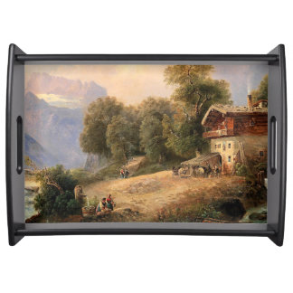 Alpine Chalet Cabin Mountains Rivers Serving Tray