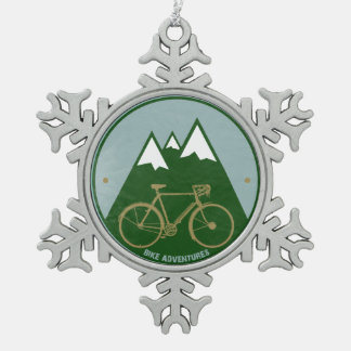 alpine cold mountain bike pewter snowflake ornament