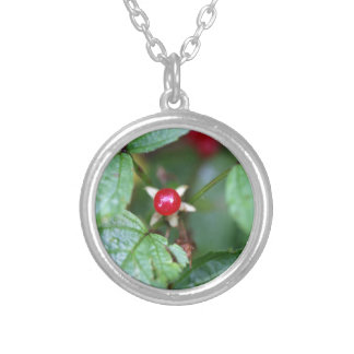 Alpine currant (Ribes alpinum) Silver Plated Necklace