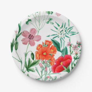 "Alpine Flowers Garden Party Paper Plates 7"" 7 Inch Paper Plate"