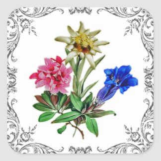 Alpine Flowers Square Sticker