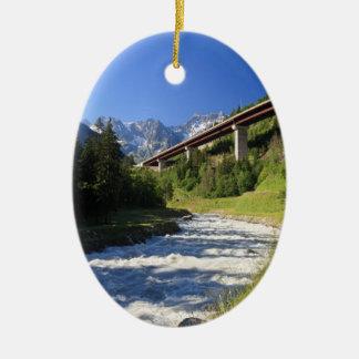Alpine highway ceramic ornament