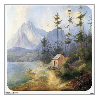 Alpine Lake Boat Cabin Mountains Alps Wall Decal