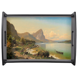 Alpine Lake Boat Cabin Path Mountains Serving Tray