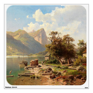 Alpine Lake Boat Mountains Alps Wall Decal