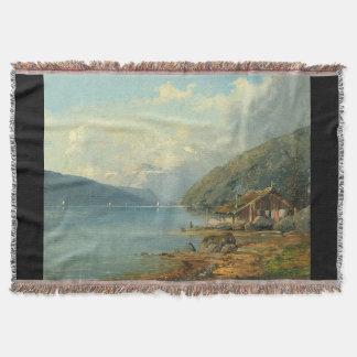 Alpine Lake Cabin Mountains Boats Throw Blanket