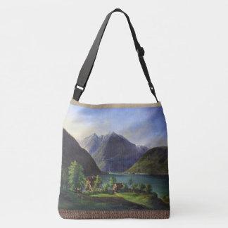 Alpine Lake Cabins Alps Mountains Village Tote Bag