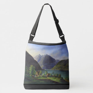 Alpine Lake Mountains Alps Cabins Tote Bag