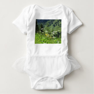 Alpine landscape with wildflowers and firs baby bodysuit