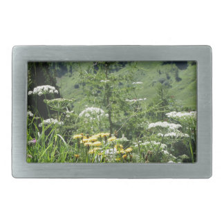 Alpine landscape with wildflowers and firs belt buckle