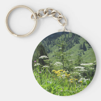 Alpine landscape with wildflowers and firs keychain