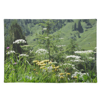 Alpine landscape with wildflowers and firs placemat