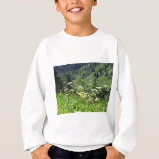 Alpine landscape with wildflowers and firs sweatshirt