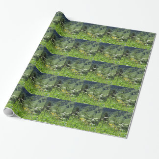 Alpine landscape with wildflowers and firs wrapping paper