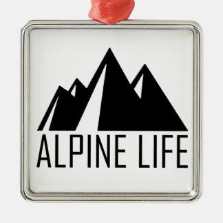 Alpine Life Silver-Colored Square Ornament