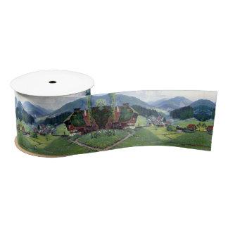 Alpine Meadows Stream Wildflowers Chalets Ribbon Satin Ribbon