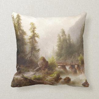 Alpine Mountain River Bridge Alps Throw Pillow