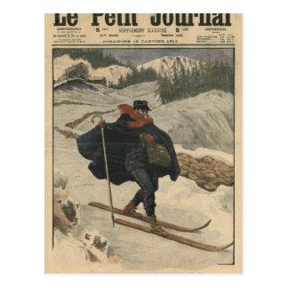 Alpine postmen using ski postcard