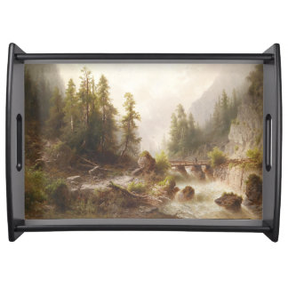 Alpine River Forest Mountains Bridge Serving Tray
